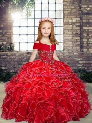Great Ball Gowns Child Pageant Dress Red Straps Organza Sleeveless Floor Length Lace Up
