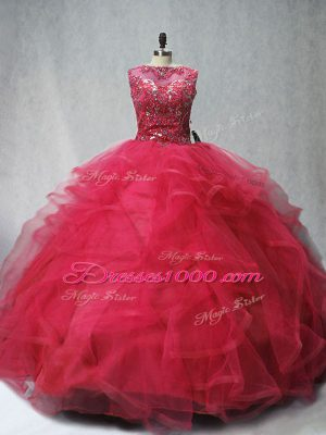 Scoop Sleeveless Brush Train Lace Up Quinceanera Dress Coral Red Tulle