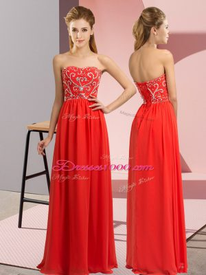 Red Lace Up Sweetheart Beading Evening Dress Chiffon Sleeveless