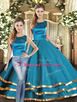 Great Teal Sleeveless Tulle Lace Up 15th Birthday Dress for Military Ball and Sweet 16 and Quinceanera