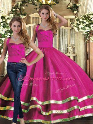 Custom Designed Fuchsia Sleeveless Ruffled Layers Floor Length Vestidos de Quinceanera