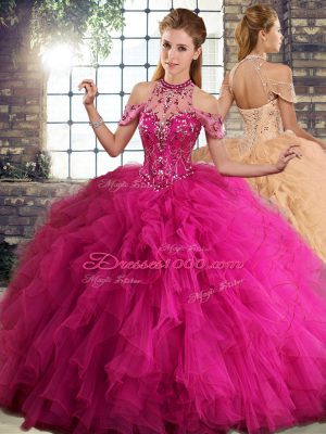Cute Sleeveless Floor Length Beading and Ruffles Lace Up Quinceanera Gowns with Fuchsia