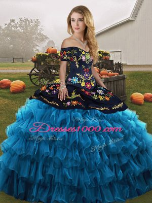 Floor Length Ball Gowns Sleeveless Blue And Black Sweet 16 Dress Lace Up