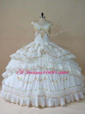 Simple White Sleeveless Taffeta Lace Up Sweet 16 Quinceanera Dress for Sweet 16 and Quinceanera