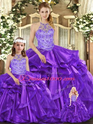 Super Purple Halter Top Lace Up Beading and Ruffles Sweet 16 Dresses Sleeveless