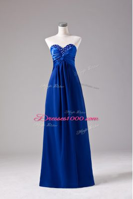 Pretty Floor Length Lace Up Prom Gown Royal Blue for Prom and Party with Beading and Ruching