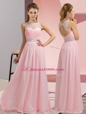 Baby Pink Backless Scoop Beading Prom Party Dress Chiffon Sleeveless