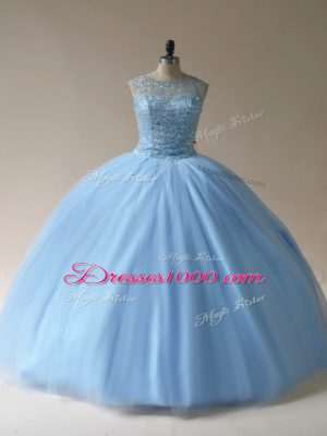 Ball Gowns Quinceanera Gown Light Blue Scoop Tulle Sleeveless Floor Length Lace Up