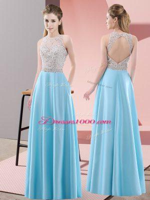 Baby Blue Empire Satin Scoop Sleeveless Beading Floor Length Backless Prom Dress