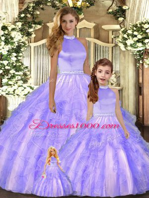 Hot Selling Tulle Halter Top Sleeveless Backless Beading and Ruffles Quinceanera Dresses in Lavender