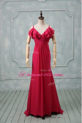 Zipper Evening Outfits Hot Pink for Prom and Party and Military Ball with Ruching Brush Train