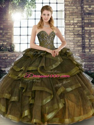 Tulle Sweetheart Sleeveless Lace Up Beading and Ruffles Quinceanera Gown in Olive Green