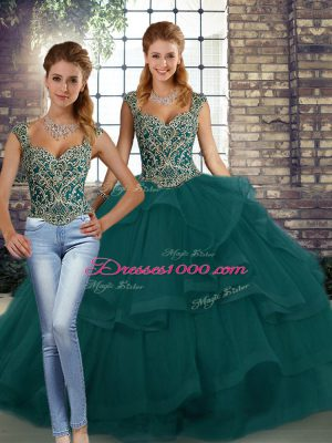 Peacock Green Straps Neckline Beading and Ruffles Quinceanera Dresses Sleeveless Lace Up