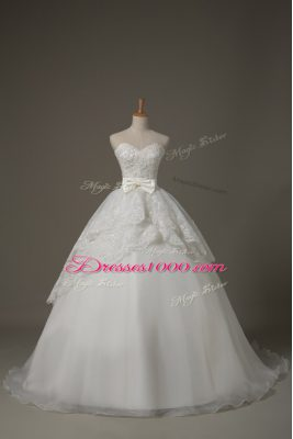 Pretty Sweetheart Sleeveless Wedding Gown Brush Train Beading and Lace and Bowknot White Organza