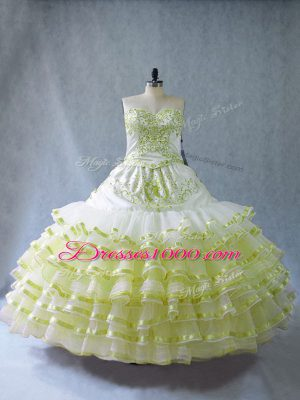 Top Selling Yellow Green Organza Quince Ball Gowns Sleeveless Floor Length Embroidery and Ruffled Layers