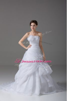 Beautiful White Organza Lace Up Wedding Dress Sleeveless Brush Train Pick Ups and Hand Made Flower