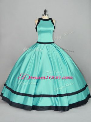 Aqua Blue Ball Gowns Ruching Ball Gown Prom Dress Zipper Satin Sleeveless Floor Length