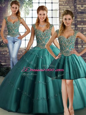 Teal Straps Lace Up Beading and Appliques Quinceanera Gowns Sleeveless