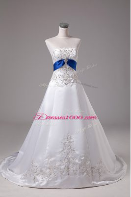 Luxurious Satin Strapless Sleeveless Brush Train Lace Up Beading and Embroidery Wedding Gown in White