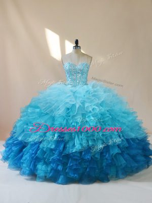 Exceptional Multi-color Ball Gown Prom Dress Sweet 16 and Quinceanera with Beading and Ruffles Sweetheart Sleeveless Lace Up