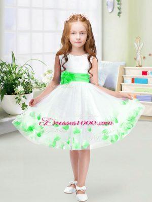 Exquisite Scoop Sleeveless Zipper Flower Girl Dresses White Tulle
