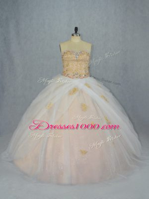 Champagne Quinceanera Dress Tulle Sleeveless Beading and Appliques