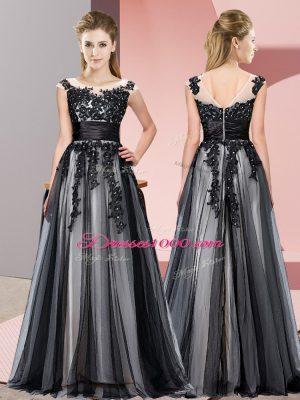 Custom Designed Black Zipper Wedding Guest Dresses Beading and Lace Sleeveless Floor Length