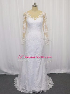Fitting White Scoop Neckline Lace Bridal Gown Long Sleeves Clasp Handle