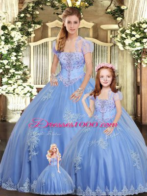 Fabulous Strapless Sleeveless Sweet 16 Dress Floor Length Beading and Appliques Light Blue Tulle