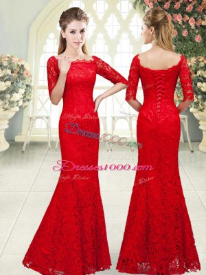 Floor Length Red Homecoming Dress Lace 3 4 Length Sleeve Beading