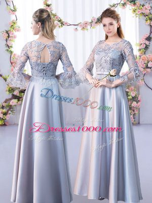 Fantastic Silver Lace Up Scoop Lace Bridesmaid Dress Satin 3 4 Length Sleeve