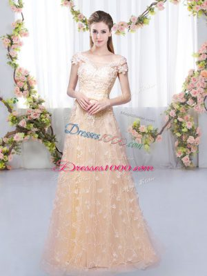 Classical Cap Sleeves Tulle Floor Length Lace Up Court Dresses for Sweet 16 in Peach with Appliques