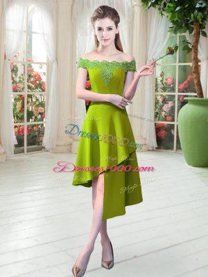 Ideal Off The Shoulder Sleeveless Asymmetrical Appliques Light Yellow Satin