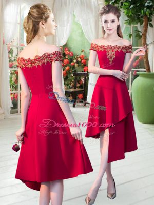 Stunning Red Dress for Prom Prom and Party with Appliques Off The Shoulder Sleeveless Zipper