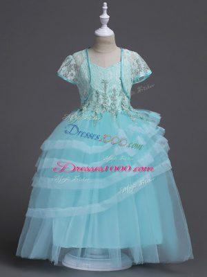 Colorful Aqua Blue Zipper Flower Girl Dresses for Less Appliques Sleeveless Floor Length