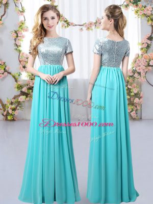 Cute Floor Length Empire Short Sleeves Aqua Blue Wedding Guest Dresses Zipper