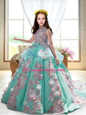 Fancy Turquoise Pageant Dress for Womens Wedding Party with Appliques High-neck Sleeveless Court Train Backless