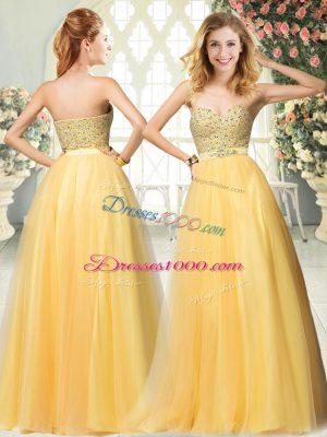 Latest Floor Length Gold Dress for Prom Sweetheart Sleeveless Zipper