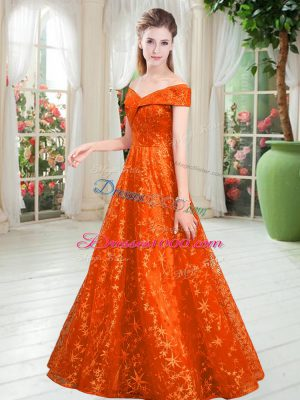 Customized Off The Shoulder Sleeveless Lace Up Party Dress Wholesale Orange Lace