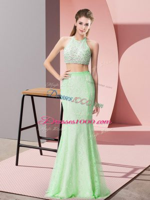 Pretty Lace Halter Top Sleeveless Backless Beading and Lace Prom Evening Gown in Apple Green