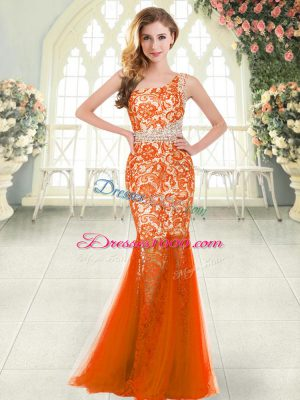 Captivating Orange Red Sleeveless Tulle Zipper for Prom and Party
