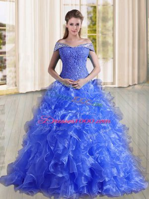 Custom Made Organza Off The Shoulder Sleeveless Sweep Train Lace Up Beading and Lace and Ruffles Vestidos de Quinceanera in Blue