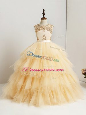 Stunning Gold Ball Gowns Tulle Scoop Sleeveless Beading and Ruffles Floor Length Zipper Evening Gowns