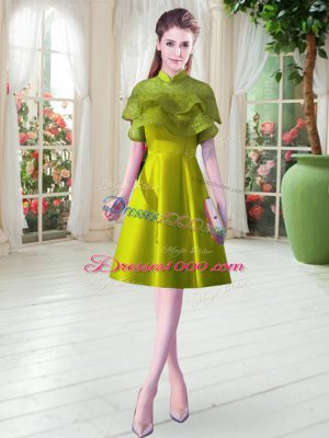 Colorful A-line Party Dress for Girls Olive Green High-neck Satin Cap Sleeves Knee Length Lace Up