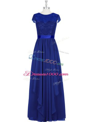 New Style Scoop Cap Sleeves Chiffon Prom Evening Gown Lace Zipper