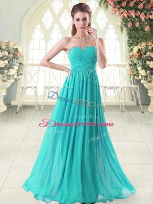Aqua Blue Chiffon Zipper Evening Dress Sleeveless Floor Length Beading
