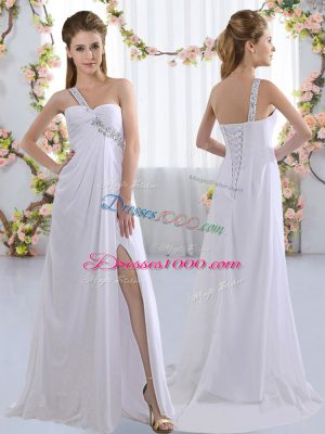 Vintage Sleeveless Brush Train Beading Lace Up Bridesmaids Dress