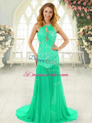 Chiffon Scoop Sleeveless Brush Train Backless Lace Prom Dress in Turquoise