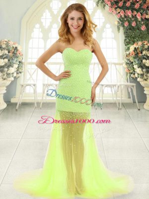 Yellow Green Homecoming Dress Prom and Party with Beading Sweetheart Sleeveless Brush Train Zipper