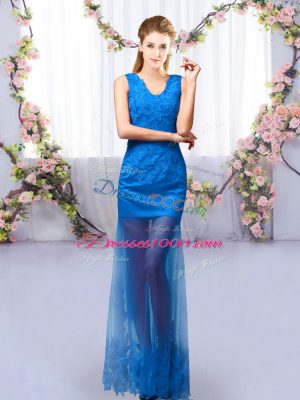 V-neck Sleeveless Tulle Wedding Guest Dresses Lace Lace Up
